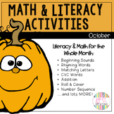 Fall and Halloween Math and Literacy Stations (Bundle)