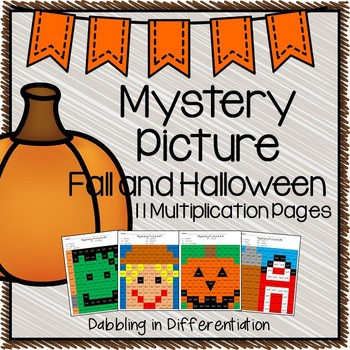 Fall and Halloween Multiplication Mystery Picture