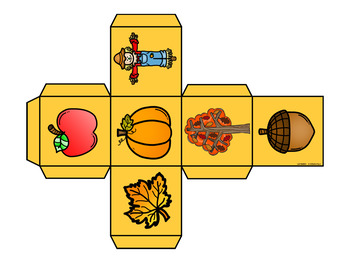 Fall and Halloween Roll and Graph Math Centers for Kindergarten