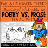 Fall and Halloween Theme Elements of Poetry and Prose Reading & Writing Activity