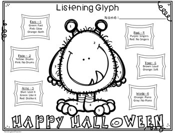Fall and Halloween Theme Listening Glyphs for Elementary Music Students