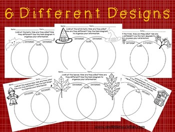 Fall and Halloween Venn Diagram Compare and Contrast Worksheet pack