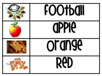 Fall and Halloween Word Wall Words