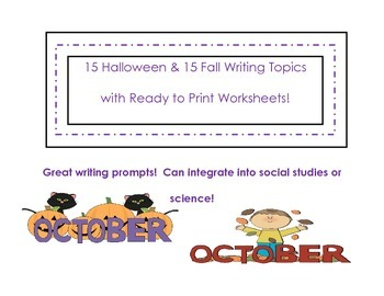 30 Fall and Halloween Writing Topics with Ready to Use Pages