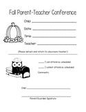 Fall and Spring Parent Teacher Conference Slips