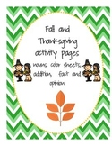 Fall and Thanksgiving Activity Pages