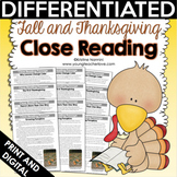 Fall & Thanksgiving Close Reading Comprehension Passages and Questions