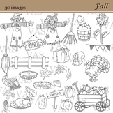 Fall and Thanksgiving Line Clip Art clipart