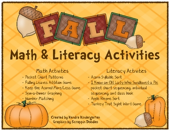 Fall and Thanksgiving Math & Literacy Activities