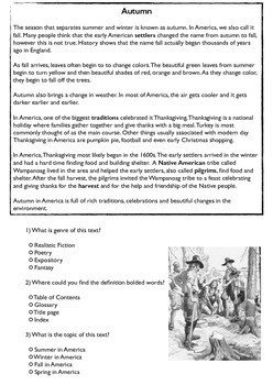 Fall and Thanksgiving Text to Text Genre Comprehension and comparison
