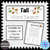 Fall Word Search - Thanksgiving Word Search