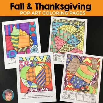 "Fall & Thanksgiving Activities - Interactive ""Pop Art"" Coloring Sheets"