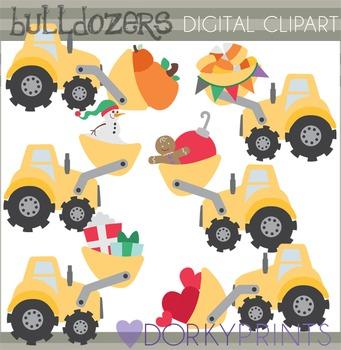 Fall and Winter Bulldozers Clip Art