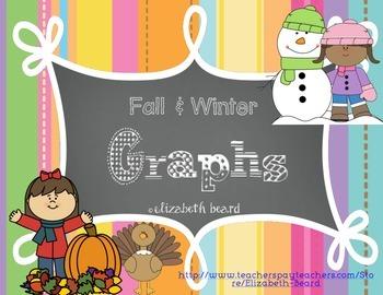 Fall and Winter Graphs: Halloween, Thanksgiving, Snowmen,