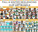 Sequencing Winter and Fall Clip Art Bundle