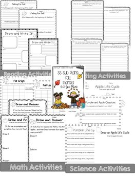 Fall and Winter Sub Plans K-2  Combo Pack