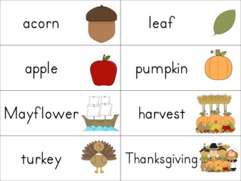 Fall and Winter Word Wall Word Cards