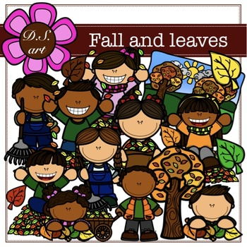 Fall and leaves Digital Clipart (color and black&white)
