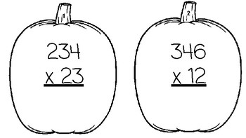 Fall and/or Halloween 3 digit by 2 digit Multiplication