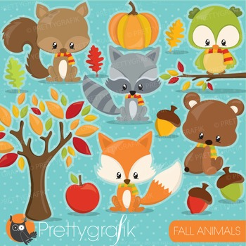 Fall animals clipart commercial use, graphics, digital cli