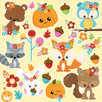 Fall animals clipart commercial use, vector graphics, digi
