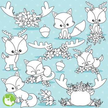 Fall animals stamps commercial use, vector graphics, images  - DS1027