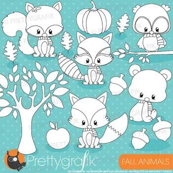 Fall animals stamps commercial use, vector graphics, image