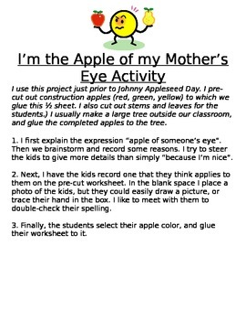 Fall apple project - I'm the Apple of My Mother's Eye