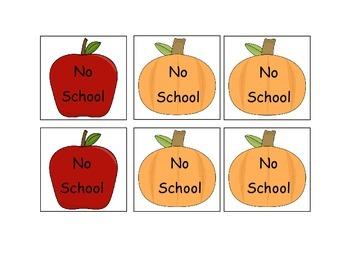 Fall (apples and pumpkins) Calendar Numbers