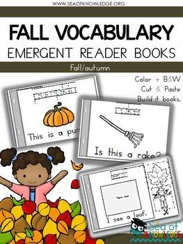 Fall/autumn Emergent Reader Vocabulary Books