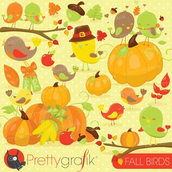Fall birds clipart commercial use, vector graphics, digital - CL726