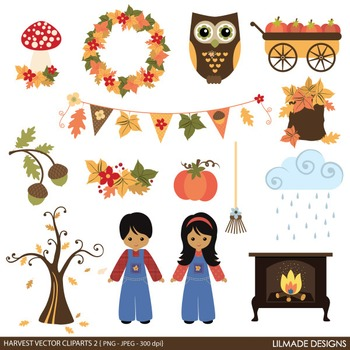 Fall clip art, Autumn clip art, Harvest clip art, Thanksgiving clip art, v2