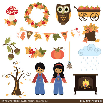 Fall clipart, digital papers and printable cards bundle