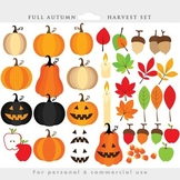 Fall clipart - harvest clip art, autumn, Thanksgiving, pumpkins, leaves, leaf