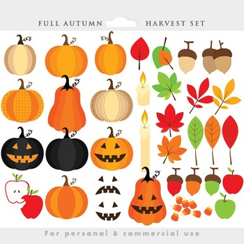 Fall clipart - harvest clip art, autumn, Thanksgiving, pumpkins, leaves, leaf