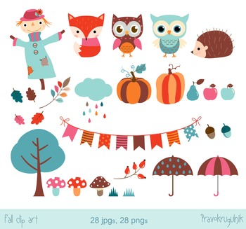 Fall clipart set, Autumn clip art, cloud, pumpkin, scarecrow, fox, owl clipart