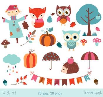 Fall clipart set, Autumn clip art, cloud, pumpkin, scarecr