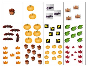 Fall counting 1-24 matching words numbers Thanksgiving mat