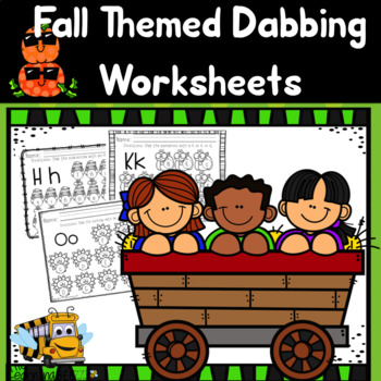 Fall dabbing worksheets for letter recognition