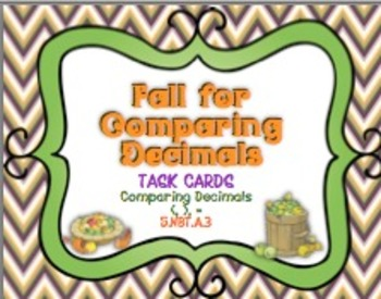 Fall for Comparing Decimals Task Cards