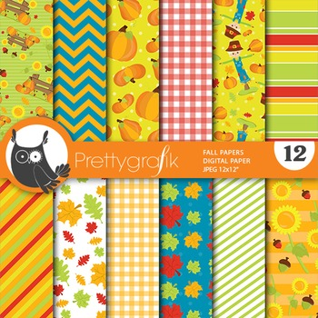 Fall harvest digital paper, commercial use, scrapbook papers - PS656