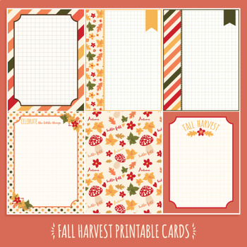 Fall harvest printable cards and task cards