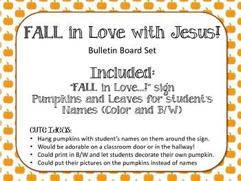 Fall in Love with Jesus Bulletin Board Set. Christian. Leaves Pumpkins