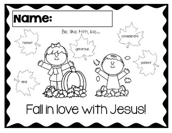 Fall in love with Jesus Color by Word Coloring Sheet