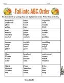 Fall into ABC Order Grade 4
