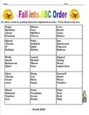 Fall into ABC Order, Grade Three