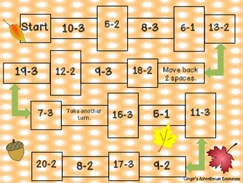 Fall into Count Back Subtraction Game Board