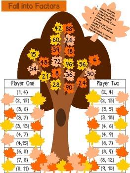 4.OA.4 Fall into Factors (Fall Themed) Game