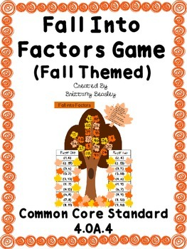 4.OA.4 Fall into Factors (Fall Themed) Game