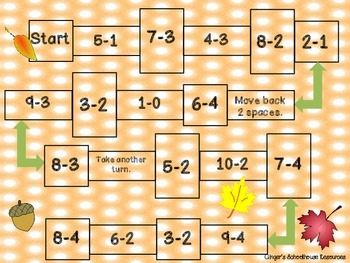Fall into Subtraction within Ten Game Board
